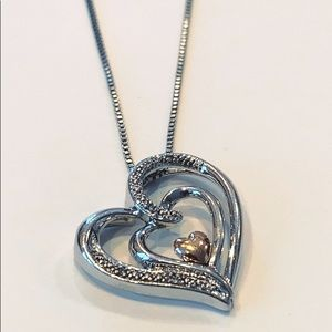 Jewelry - Solid 14 k diamond and sterling silver 925 heart